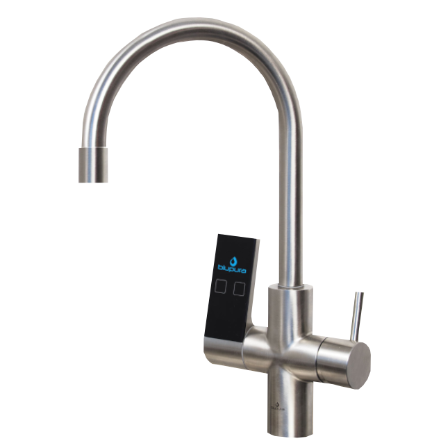 Modern faucet with touch-screen controls